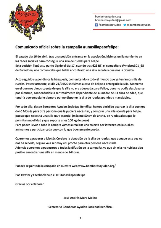 Comunicado oficial de bomberosayudan